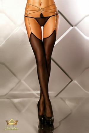 Glamourous - Bas porte-jarretelles bijou : Bas en fine résille avec porte-jarretelles bijou chaines dorées, et un pendentif pompon coquin.