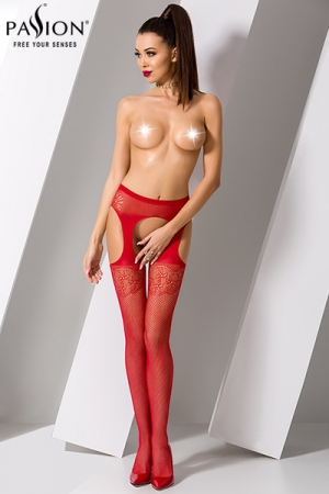 Collants ouverts S005 - Rouge : Collants ouverts en résille rouge soulignée d'un motif fantaisie et quatre fausses jarretelles.