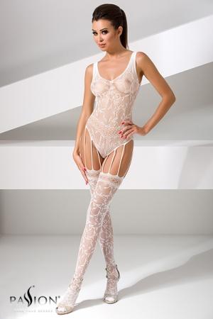 Combinaison BS051 - Blanc : Combinaison sexy en résille blanche, composée d'un body et de bas reliés par de fines jarretelles.