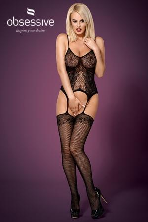Bodystocking noir F224 - Obsessive : Combinaison sensuelle, extensible, imitant une guêpière et ses bas jarretelles, par Obsessive.