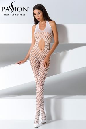 Combinaison BS065 - Blanc : Combinaison sexy à trous blanche, dos nu et extensible.