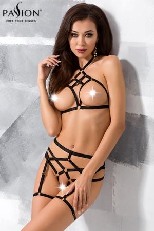 Ensemble harnais Morgan : Ensemble lingerie sexy fetish aux lanières provocantes.
