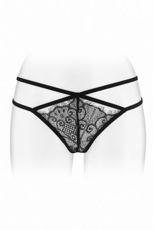 String ouvert Mylene - noir : String coquin noir en dentelle et ornements croisés, ouvert entre les cuisses, par Fashion Secret.