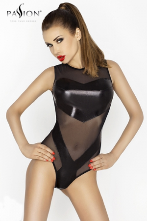 Body Clover : Body en fine résille sans manches avec des empiècements de wetlook qui couvrent la poitrine et le sexe.