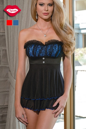 Robe bustier Joséphine : Robe nuisette en tulle noir transparent, au magnifique bustier coloré doublé de dentelle. Pour celles qui s'aiment sexy, et romantique.